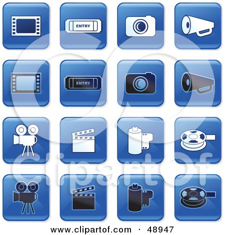 Royalty-Free (RF) Clipart Illustration of a Digital Collage Of Square Blue, Black And White Film Industry Icons by Prawny