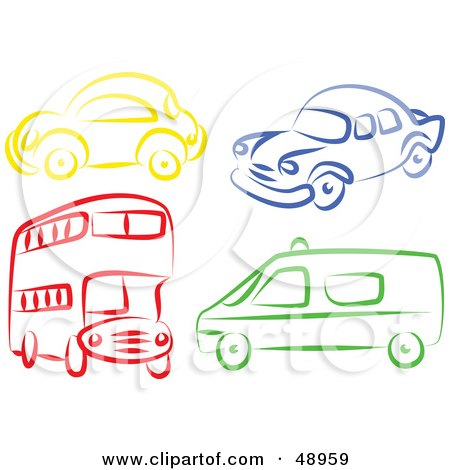 Royalty-Free (RF) Clipart Illustration of a Digital Collage Of A Double Decker, Van, And Cars by Prawny