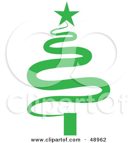Royalty-Free (RF) Clipart Illustration of a Green Squiggle Christmas Tree by Prawny
