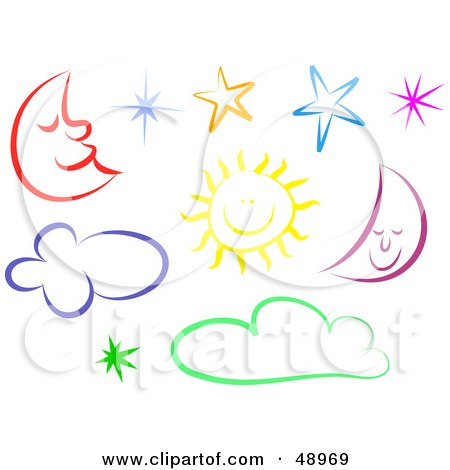 Royalty-Free (RF) Clipart Illustration of a Digital Collage Of Colorful Moons, Suns, Stars And Clouds by Prawny