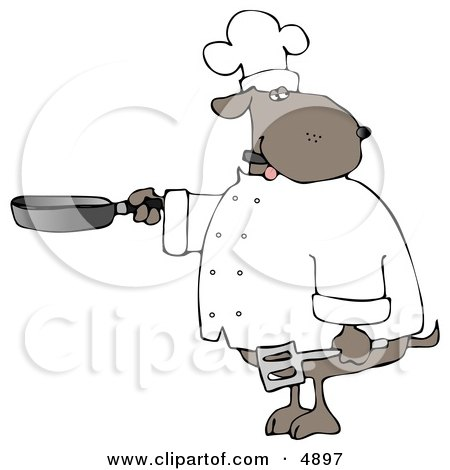 Human Like Chef Dog Cooking With A Skillet And Spatula Clipart