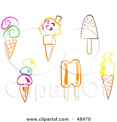 Royalty-Free (RF) Clipart Illustration of a Digital Collage Of Colorful Ice Cream Desserts by Prawny