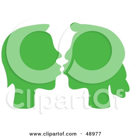 Royalty-Free (RF) Clipart Illustration of a Green Kissing Silhouetted Couple by Prawny