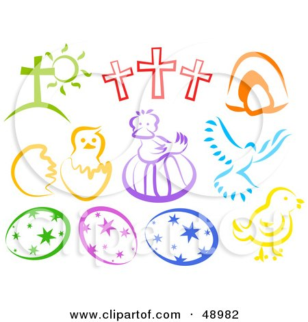 Royalty-Free (RF) Clipart Illustration of a Digital Collage Of Colorful Easter Items by Prawny
