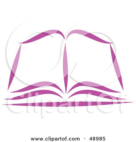 Royalty-Free (RF) Clipart Illustration of a Purple Open Bible or Book by Prawny