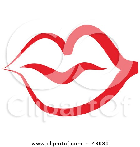 Red Lip Outline Posters, Art Prints