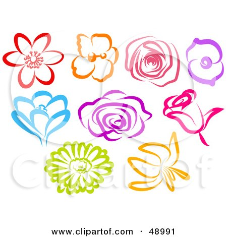 Royalty-Free (RF) Clipart Illustration of a Digital Collage Of Colorful Flower Blooms by Prawny