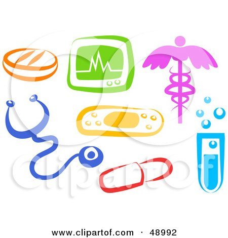 Digital Collage Of Colorful Medical Items Posters, Art Prints