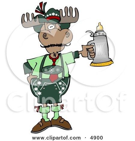 Human-like German Moose Celebrating Oktoberfest with a Beer Stein Clipart by djart