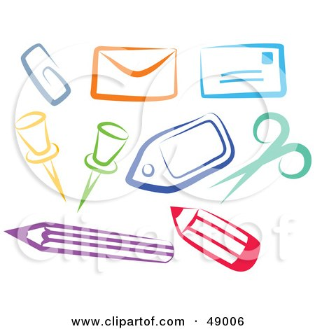 Royalty-Free (RF) Clipart Illustration of a Colorful Digital Collage Of Office Items by Prawny