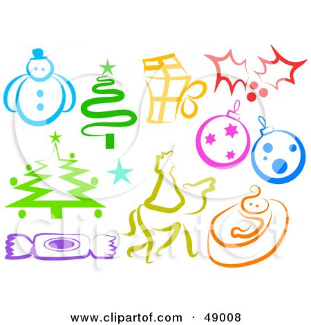 Clipart of a Colorful Patterned Folk Art Christmas Tree - Royalty ...