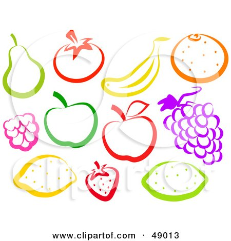 Royalty-Free (RF) Clipart Illustration of a Digital Collage Of Colorfu Fruits by Prawny