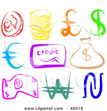 Royalty-Free (RF) Clipart Illustration of a Digital Collage of Money Items by Prawny