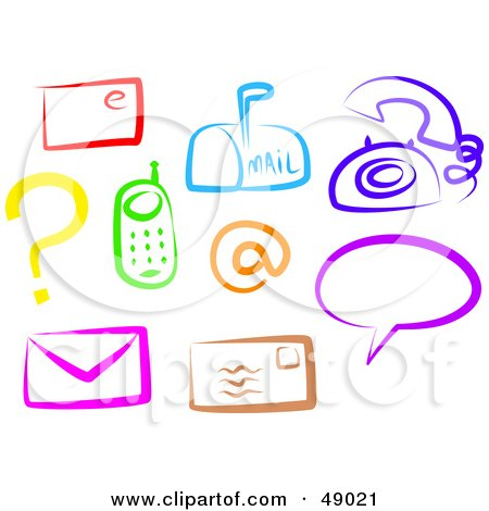 Royalty-Free (RF) Clipart Illustration of a Digital Collage Of Colorful Communication Items by Prawny