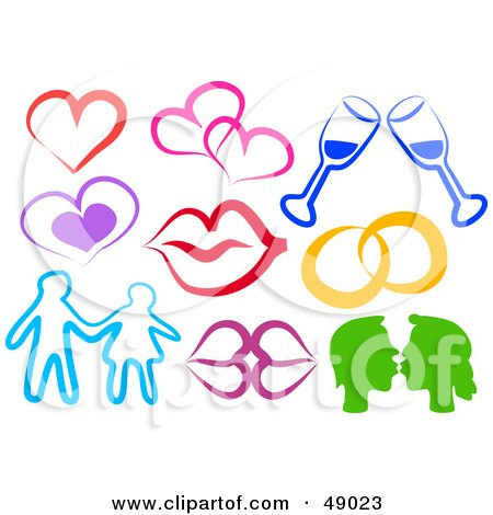 Royalty-Free (RF) Clipart Illustration of a Digital Collage Of Lips, Hearts, Couples And Wine by Prawny