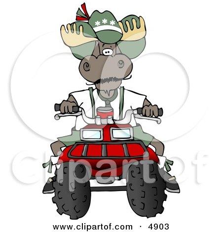 Bull Moose Riding a Recreational ATV Four Wheeler Clipart by djart