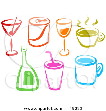 Royalty-Free (RF) Clipart Illustration of a Digital Collage Of Colorful Beverages by Prawny