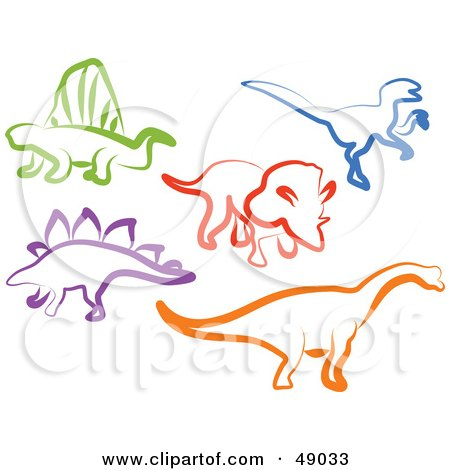 Royalty-Free (RF) Clipart Illustration of a Digital Collage Of Colorful Dinosaurs by Prawny