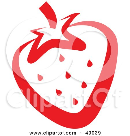 Royalty-Free (RF) Clipart Illustration of a Juicy Red Strawberry Outline by Prawny