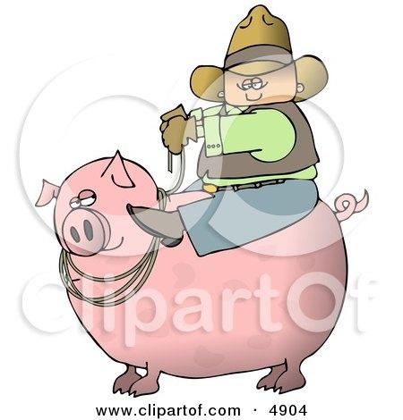 Cowboy Farmer Man Riding A Big Fat Pig Clipart