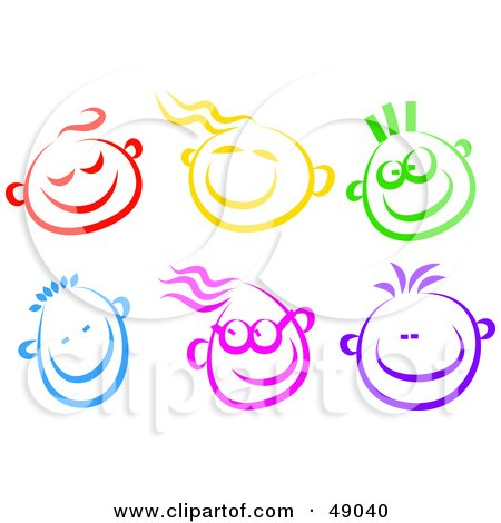 Royalty-free clipart picture of a digital collage of happy children faces,