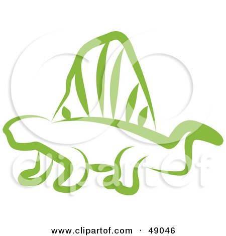 Royalty-Free (RF) Clipart Illustration of a Green Dimetrodon by Prawny