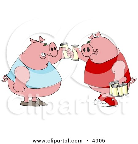 Human-like Fat Pigs Toasting Beers Against Each Other Clipart by djart