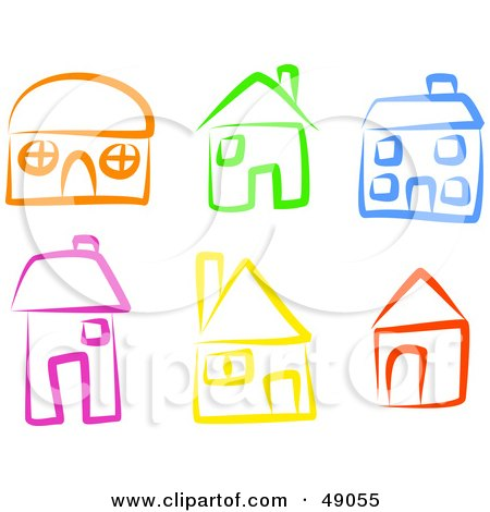 Royalty-Free (RF) Clipart Illustration of a Digital Collage Of Colorful Homes by Prawny
