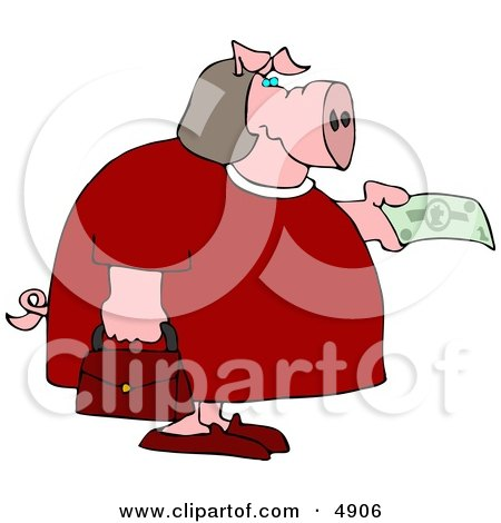 Human-like Fat Female Pig Purchasing Food with Money Clipart by djart