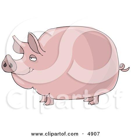 Big Fat Pink Pig Clipart by djart