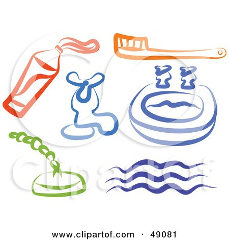 Royalty-Free (RF) Clipart Illustration of a Digital Collage Of Bathroom Items by Prawny