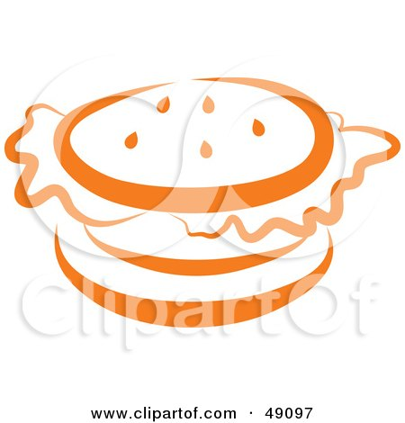 Royalty-Free (RF) Clipart Illustration of an Orange Hamburger by Prawny