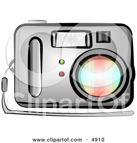 Clipart of a standard point and shoot digital camera with flash.