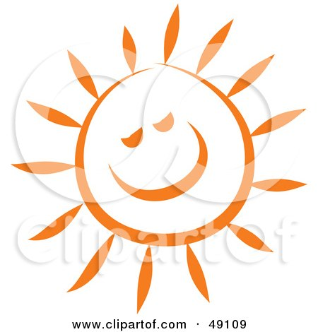 Royalty-Free (RF) Clipart Illustration of a Cheery Orange Sun Smiling by Prawny