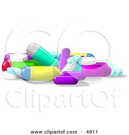 Assorted Medicine Tablets & Capsules Clipart by djart