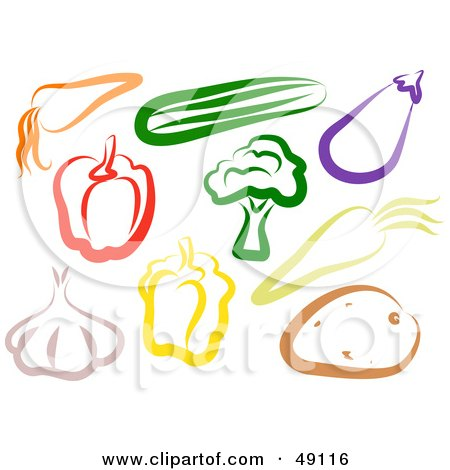 Royalty-Free (RF) Clipart Illustration of a Colorful Digital Collage Of Veggies by Prawny