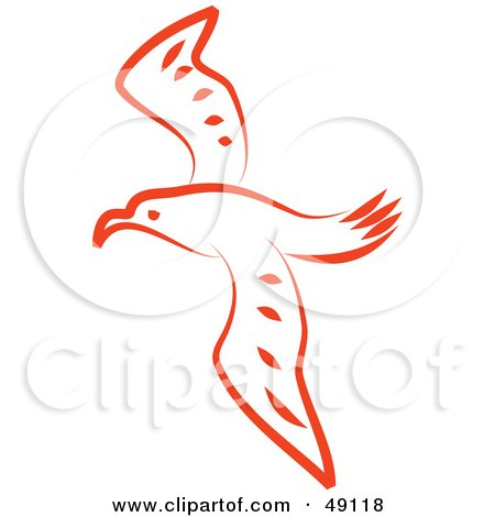 Royalty-Free (RF) Clipart Illustration of a n Orange Seagull by Prawny