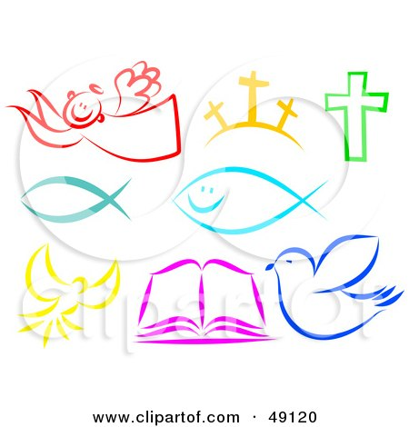 Royalty-Free (RF) Clipart Illustration of a Digital Collage Of Colorful Christian Items by Prawny