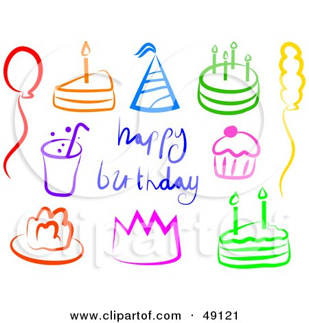 Royalty-Free (RF) Clipart Illustration of a Digital Collage Of Colorful Birthday Items by Prawny