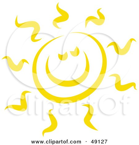 Royalty-Free (RF) Clipart Illustration of a Cheerful Yellow Sun Shining by Prawny