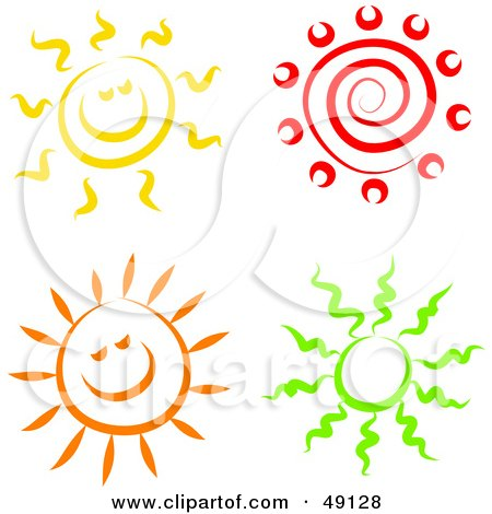 Royalty-Free (RF) Clipart Illustration of a Digital Collage Of Colorful Suns by Prawny