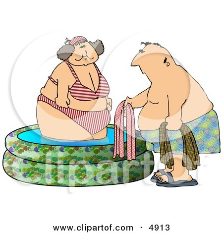 Obese Woman Getting Out of a Swimming Pool with a Man Posters, Art Prints
