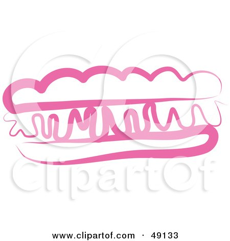 Royalty-Free (RF) Clipart Illustration of a Pink Hot Dog by Prawny