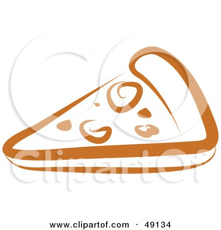 Royalty-Free (RF) Clipart Illustration of a Brown Pizza Slice by Prawny
