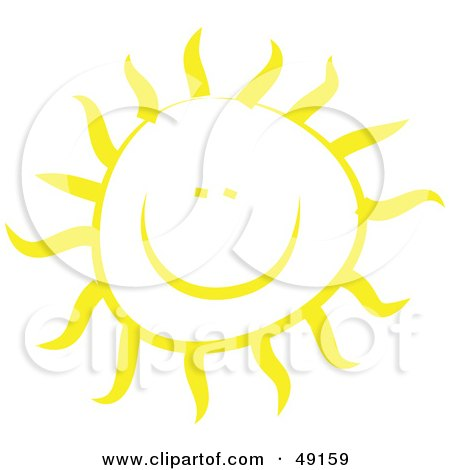 Royalty-Free (RF) Clipart Illustration of a Cheery Yellow Sun Shining by Prawny