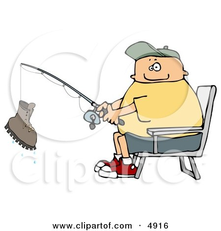 Fisherman Catching a Boot with a Fishing Pole Clipart by djart