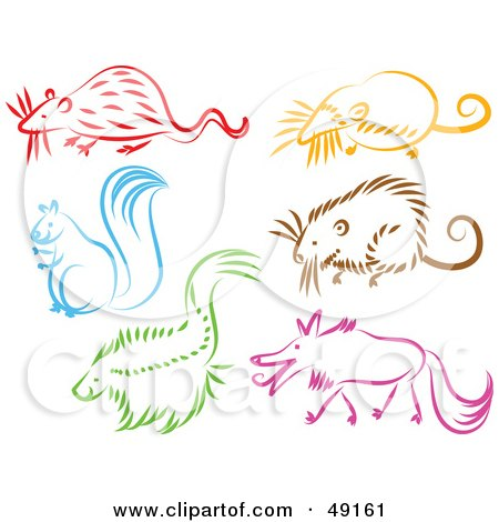 Royalty-Free (RF) Clipart Illustration of a Digital Collage Of A Rat, Mole, Squirrel, Mouse, Skunk And Wolf by Prawny