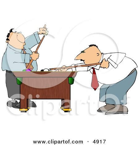 Two Men Playing a Game of Pool In Their Business Suits Clipart by djart