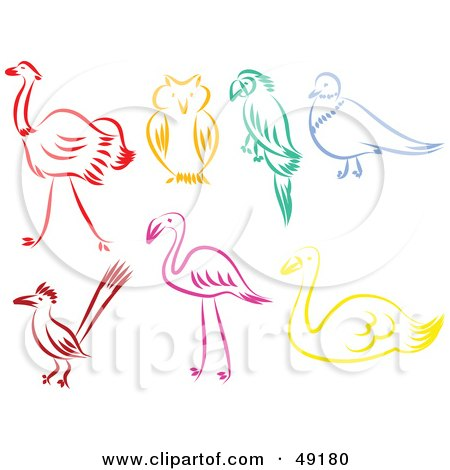 Royalty-Free (RF) Clipart Illustration of a Digital Collage of Colorful Bird Outlines by Prawny