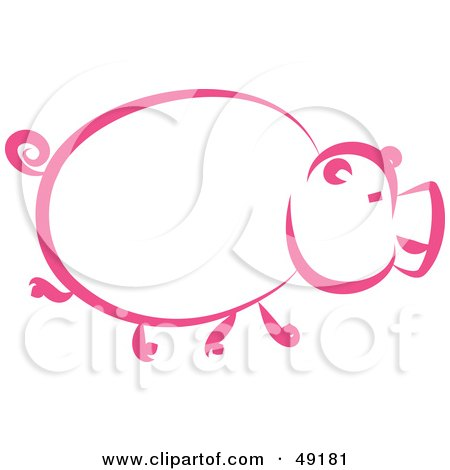Royalty-Free (RF) Clipart Illustration of a Pink Pig Profile by Prawny